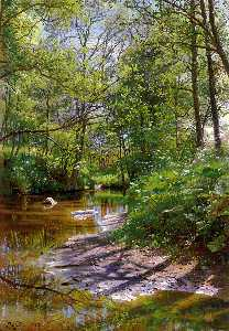 Peder Mork Monsted - A River Landscape