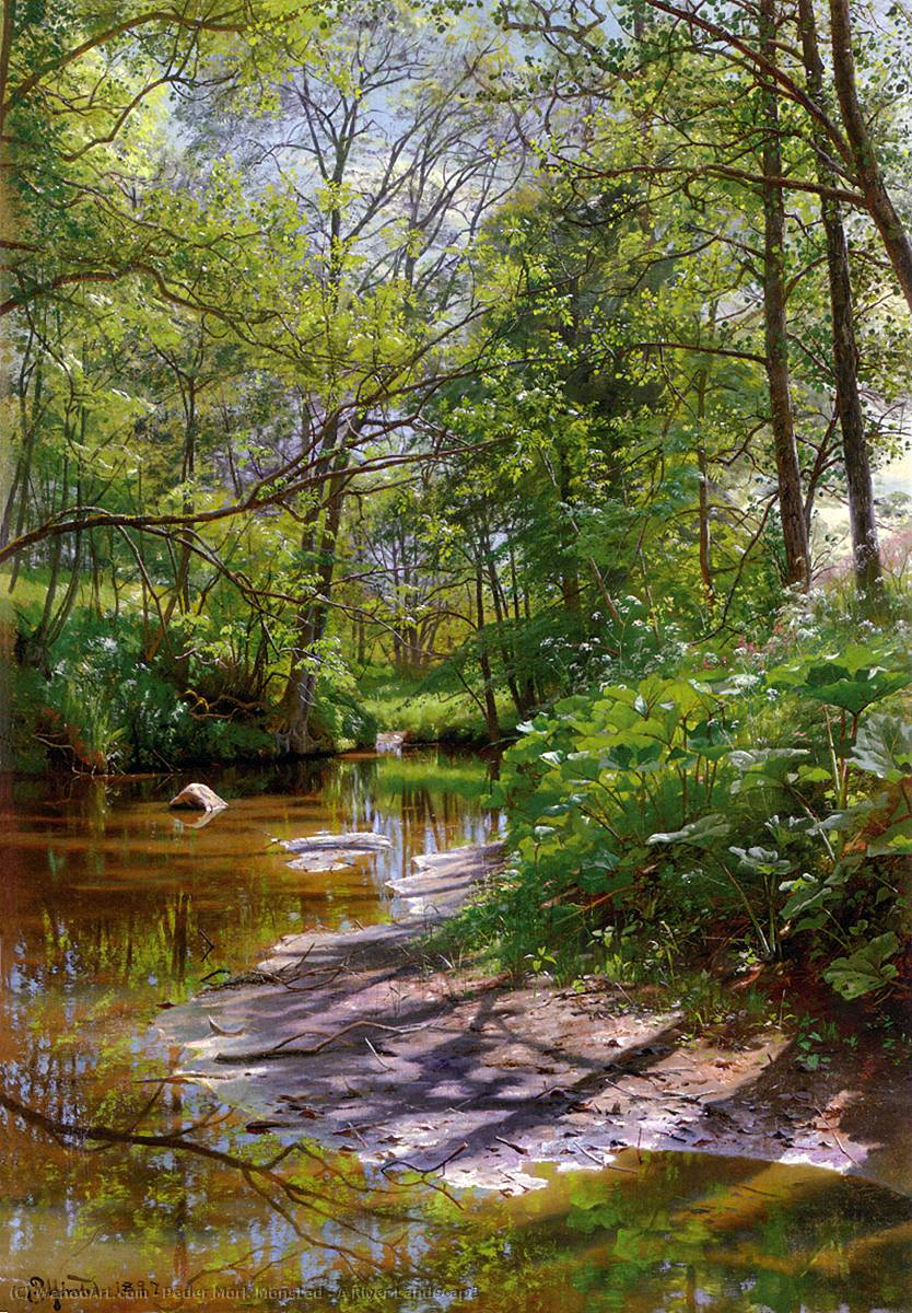 A River Landscape by Peder Mork Monsted (1859-1941, Denmark) | Museum Quality Reproductions | WahooArt.com
