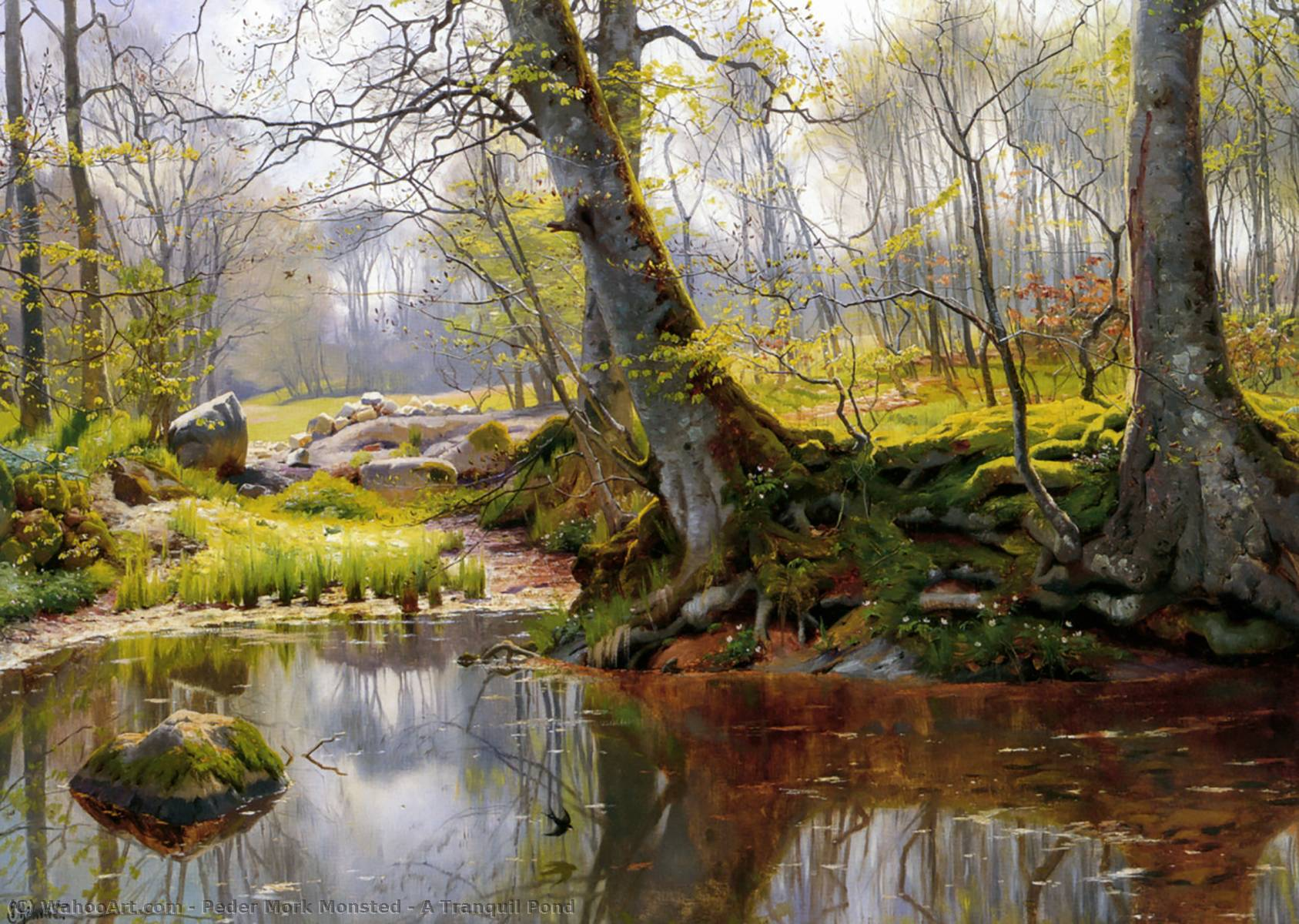 A Tranquil Pond, Oil by Peder Mork Monsted (1859-1941, Denmark)