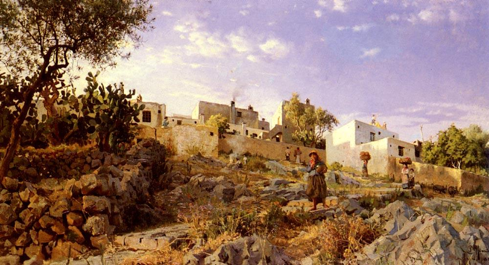 A View Of Anacapri by Peder Mork Monsted (1859-1941, Denmark) | Famous Paintings Reproductions | WahooArt.com