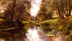 Order Museum Quality Reproductions : A Winding Stream In Summer by Peder Mork Monsted (1859-1941, Denmark) | WahooArt.com