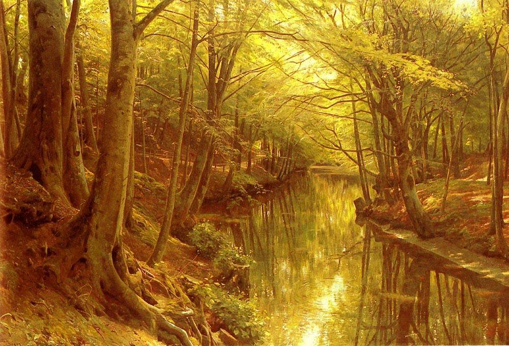 A Woodland Stream, Oil by Peder Mork Monsted (1859-1941, Denmark)