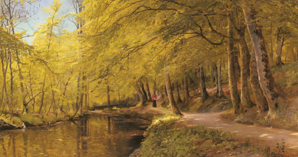 An Afternoon Stroll, Oil by Peder Mork Monsted (1859-1941, Denmark)