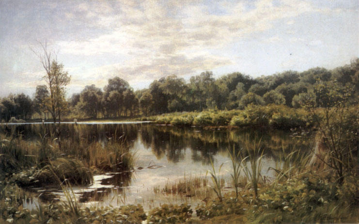 Bollemosen, Oil by Peder Mork Monsted (1859-1941, Denmark)