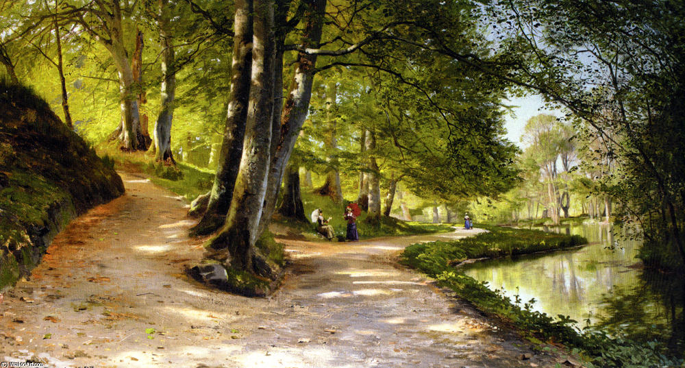 Den Rode Paraply by Peder Mork Monsted (1859-1941, Denmark) | Famous Paintings Reproductions | WahooArt.com