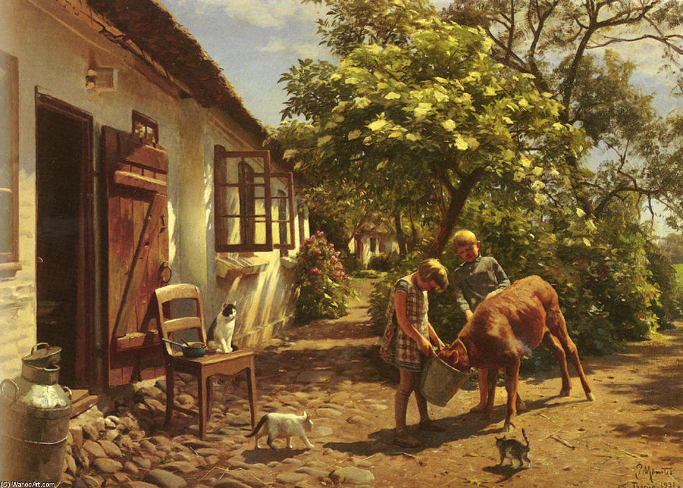 Feeding The Calf by Peder Mork Monsted (1859-1941, Denmark) | Art Reproduction | WahooArt.com