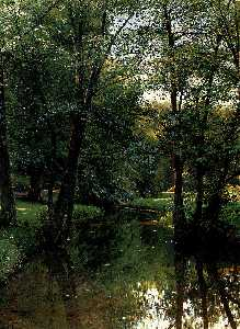 Peder Mork Monsted - Figures Resting In A River Landscape
