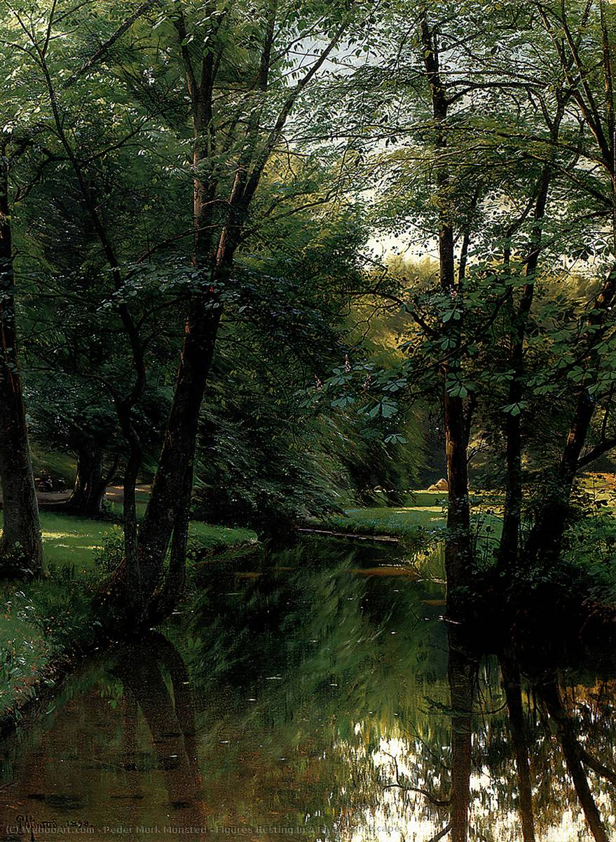 Figures Resting In A River Landscape, Oil by Peder Mork Monsted (1859-1941, Denmark)