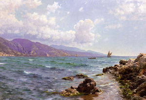 Peder Mork Monsted - Fishing Boats on the Water, Cap Martin