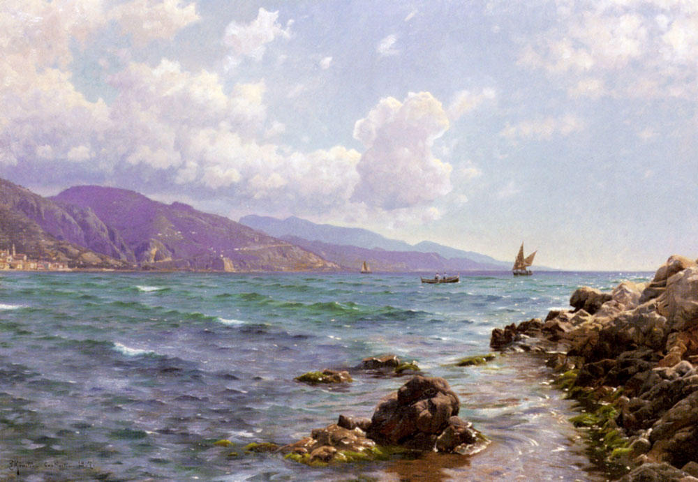 Fishing Boats on the Water, Cap Martin by Peder Mork Monsted (1859-1941, Denmark) | Museum Quality Reproductions | WahooArt.com