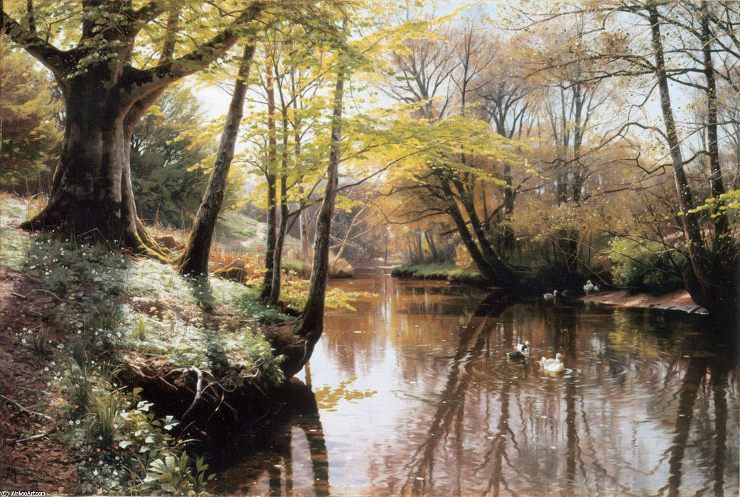 Flodlandskab by Peder Mork Monsted (1859-1941, Denmark) | Oil Painting | WahooArt.com