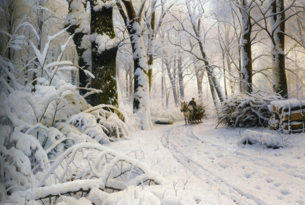 Forest in Winter by Peder Mork Monsted (1859-1941, Denmark) | Museum Quality Reproductions | WahooArt.com
