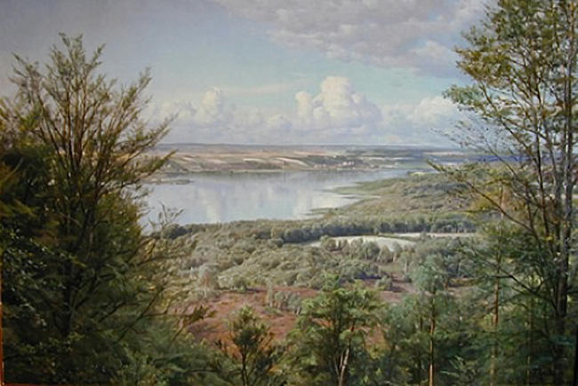 Himmelbjergit, View over Jul Lake, Oil by Peder Mork Monsted (1859-1941, Denmark)
