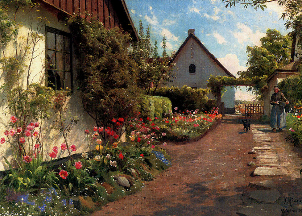 In The Garden by Peder Mork Monsted (1859-1941, Denmark) | Museum Art Reproductions Peder Mork Monsted | WahooArt.com