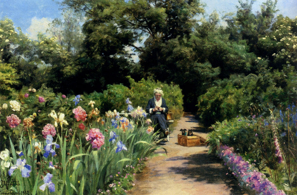 Knitting In The Garden by Peder Mork Monsted (1859-1941, Denmark) | Art Reproduction | WahooArt.com