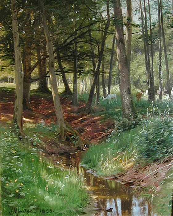 Landscape With Deer by Peder Mork Monsted (1859-1941, Denmark) | Oil Painting | WahooArt.com