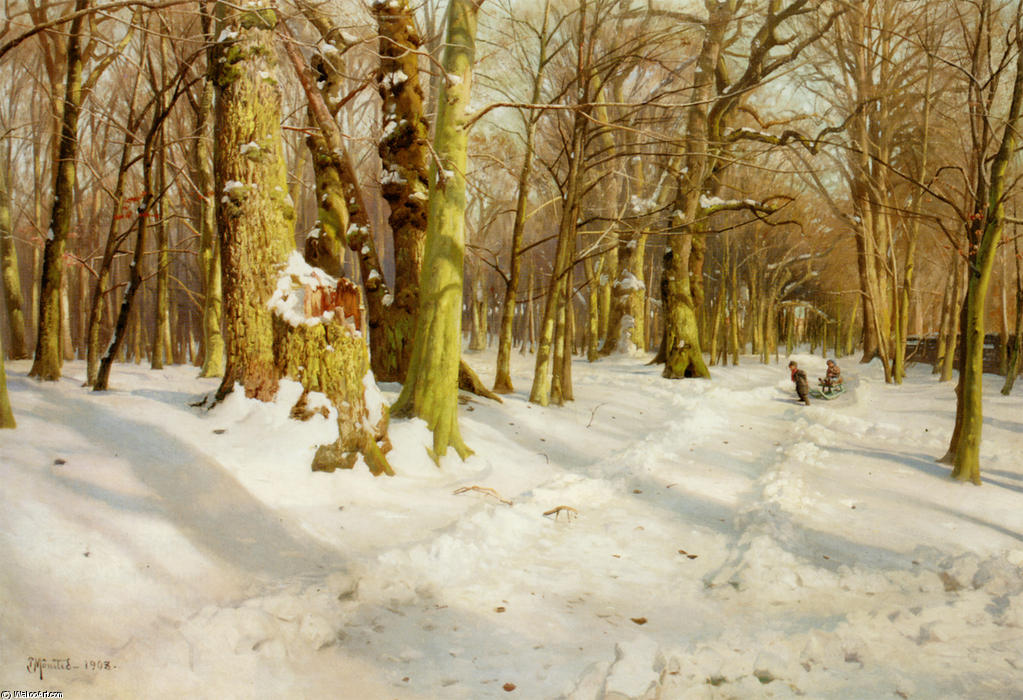 Legende Born I Sneen, Oil by Peder Mork Monsted (1859-1941, Denmark)