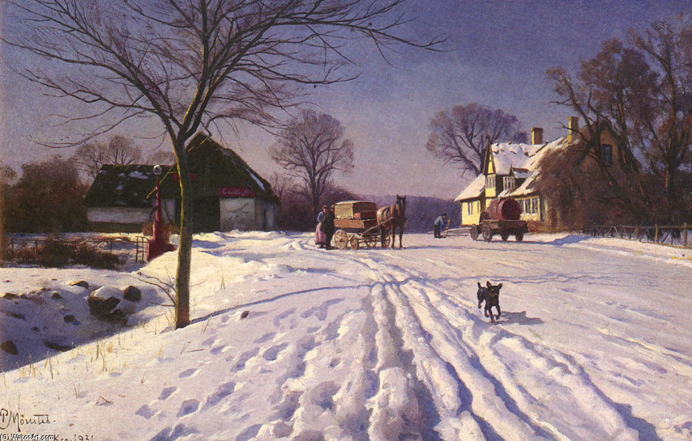 Lindenborg Kro by Peder Mork Monsted (1859-1941, Denmark) | Museum Quality Reproductions | WahooArt.com