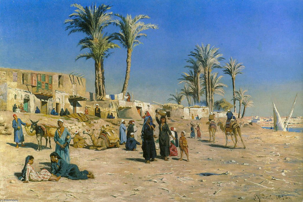 On the Outskirts of Cairo, Oil by Peder Mork Monsted (1859-1941, Denmark)