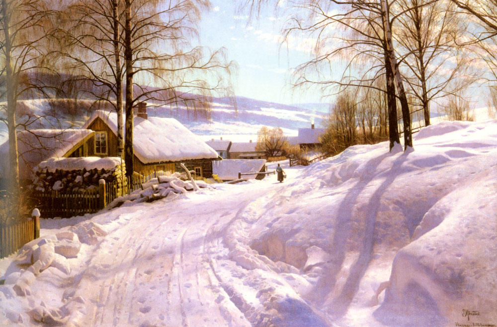 On The Snowy Path, Oil by Peder Mork Monsted (1859-1941, Denmark)