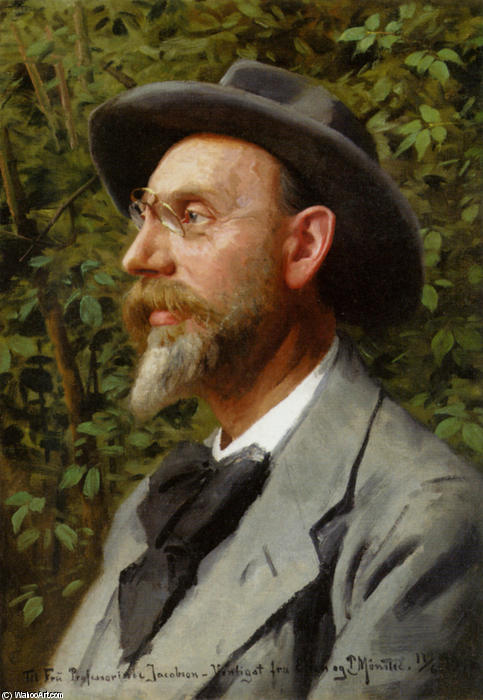 Portraet Af Professor Jacobsen by Peder Mork Monsted (1859-1941, Denmark) | Oil Painting | WahooArt.com