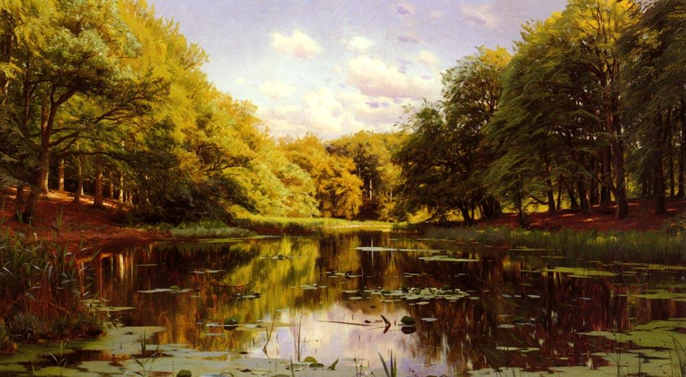 River Landscape 2 by Peder Mork Monsted (1859-1941, Denmark) | Museum Quality Reproductions | WahooArt.com