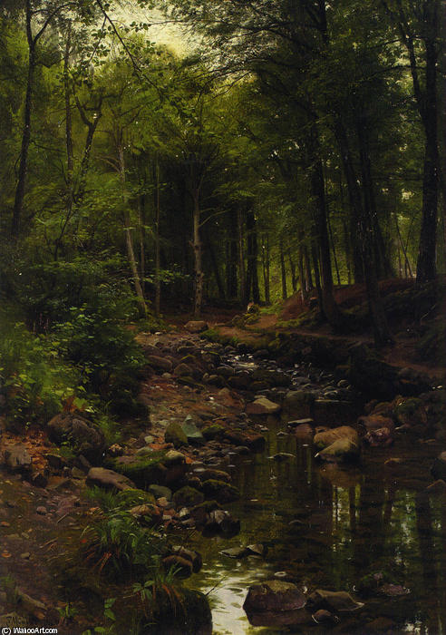 Skovstraekning, Oil by Peder Mork Monsted (1859-1941, Denmark)