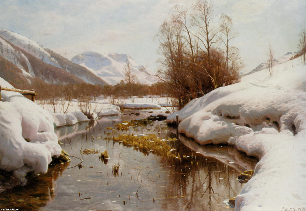 Snedaekket Flodbred, Oil by Peder Mork Monsted (1859-1941, Denmark)
