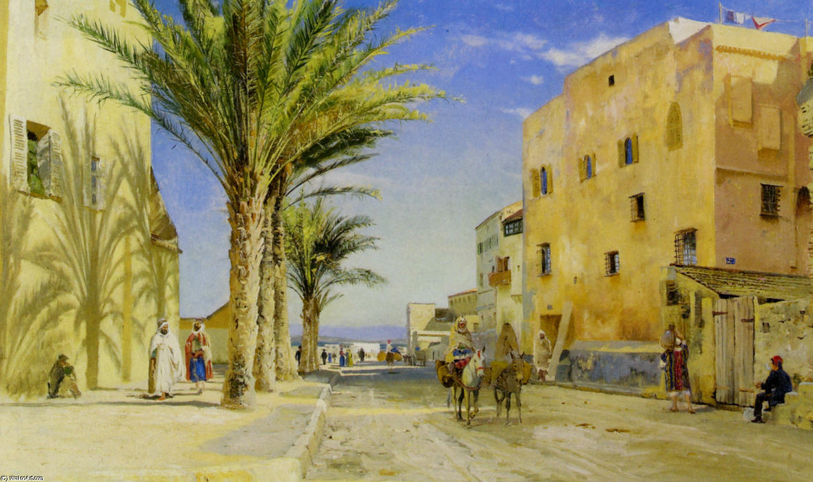 Street in Algiers, Oil by Peder Mork Monsted (1859-1941, Denmark)