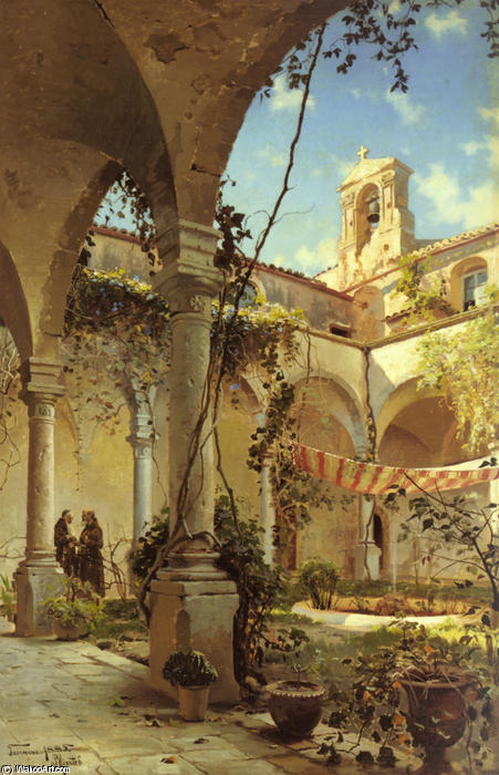 The Cloister, Taormina by Peder Mork Monsted (1859-1941, Denmark) | Art Reproduction | WahooArt.com