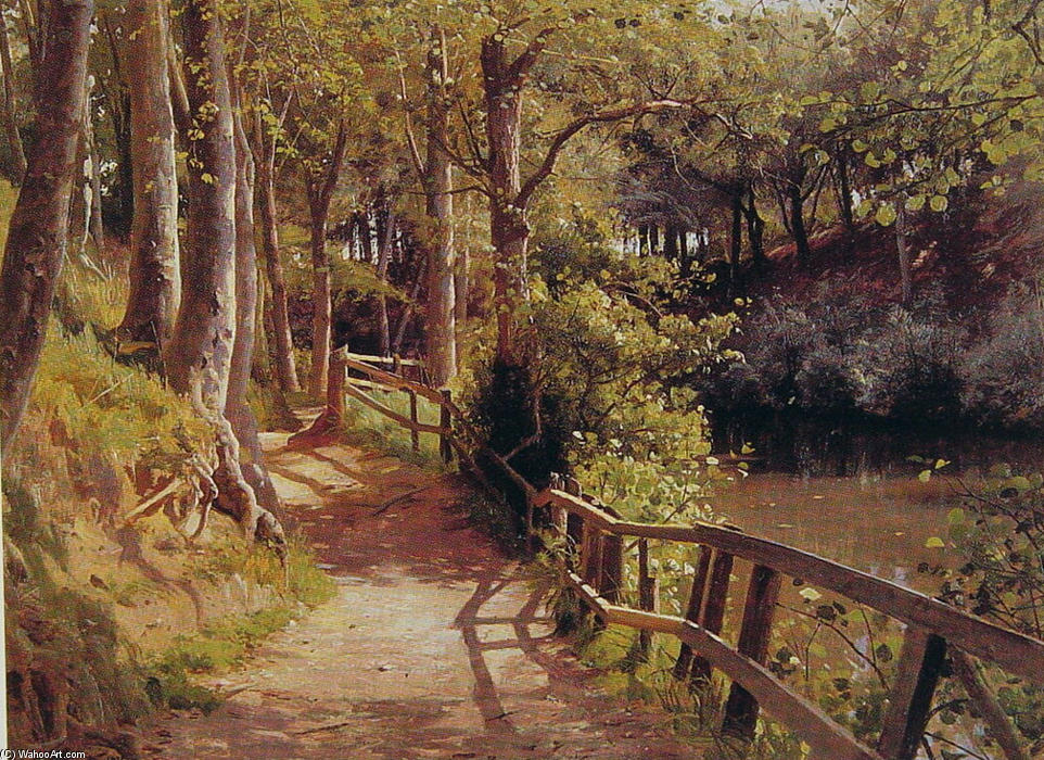The forest path by Peder Mork Monsted (1859-1941, Denmark) | Museum Quality Reproductions | WahooArt.com
