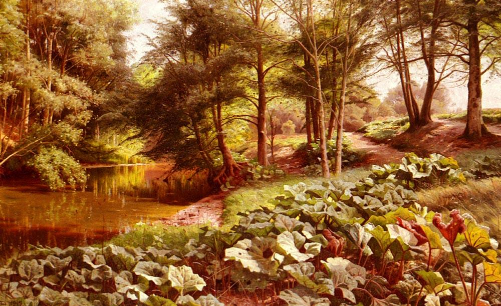 The Path On The River`s Edge by Peder Mork Monsted (1859-1941, Denmark) | Art Reproduction | WahooArt.com