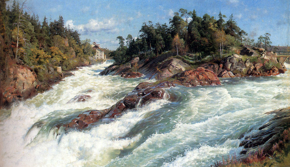 The Raging Rapids, Oil by Peder Mork Monsted (1859-1941, Denmark)