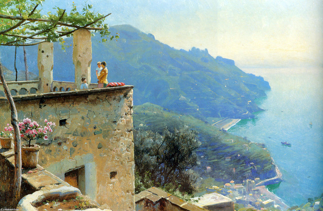 The Ravello Coastline by Peder Mork Monsted (1859-1941, Denmark) | Oil Painting | WahooArt.com