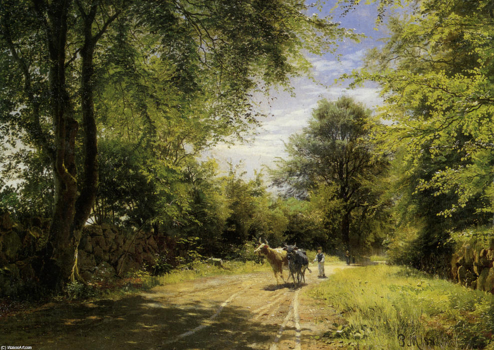 The Young Cowherd, Oil by Peder Mork Monsted (1859-1941, Denmark)
