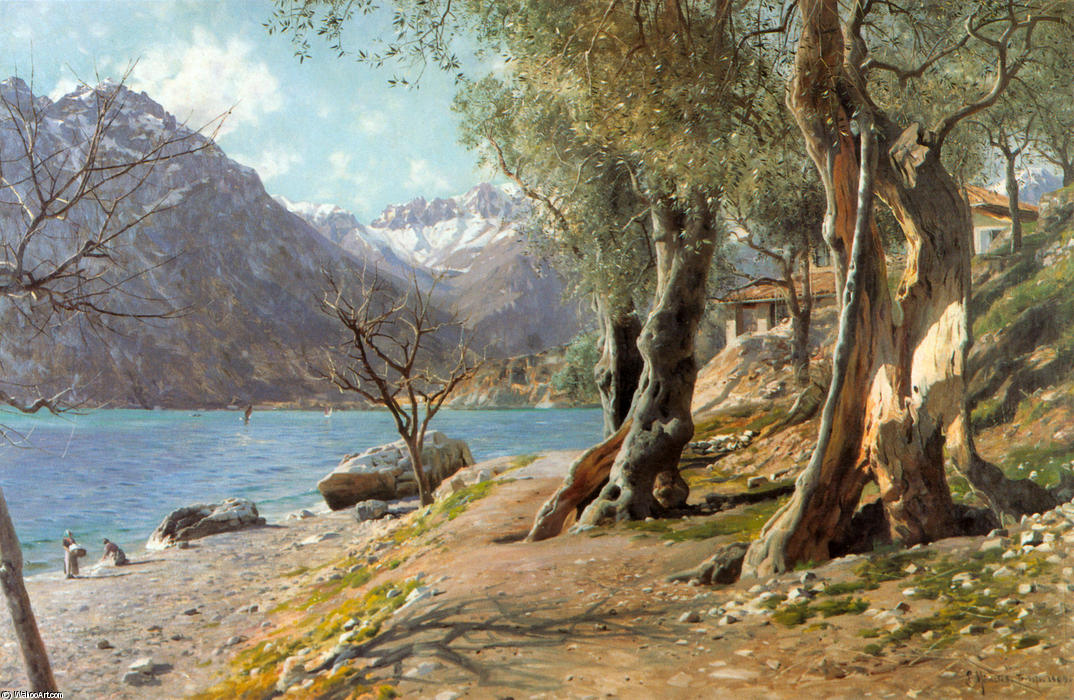 Torbole, Oil by Peder Mork Monsted (1859-1941, Denmark)