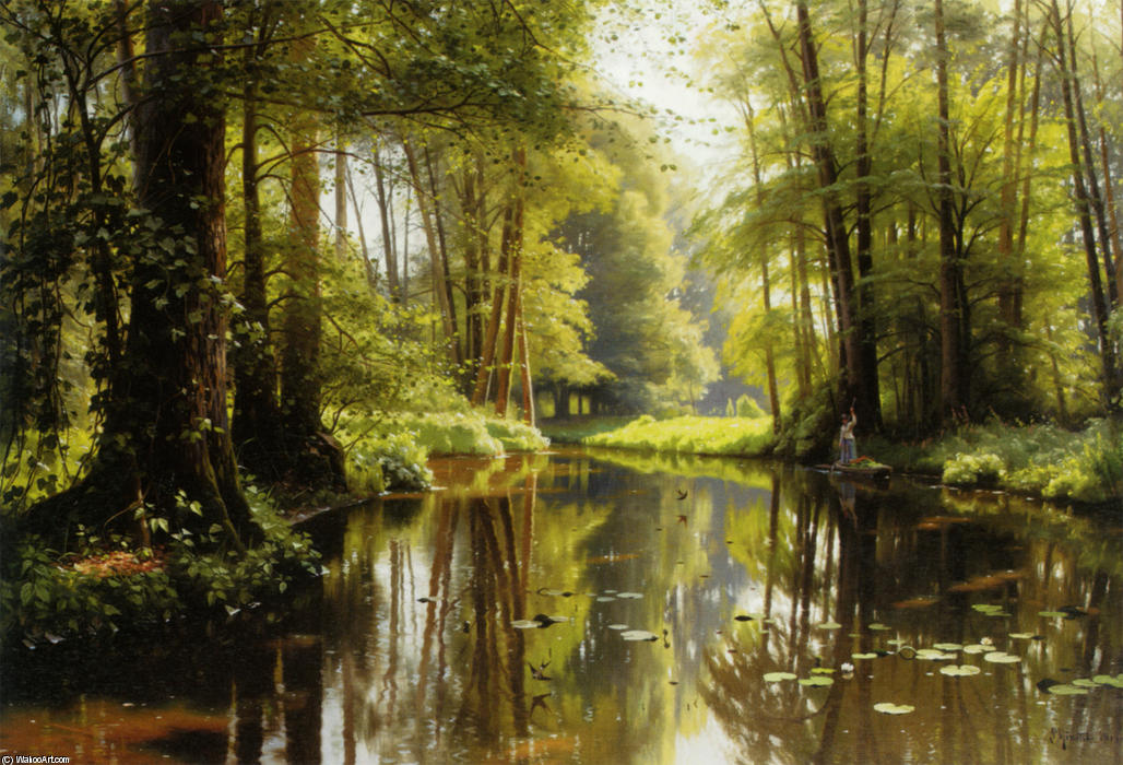 Vandlob I Skoven 1, Oil by Peder Mork Monsted (1859-1941, Denmark)