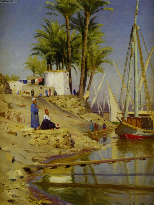 View of Cairo, Oil by Peder Mork Monsted (1859-1941, Denmark)