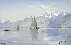 Peder Mork Monsted - View of Lake, Vevey