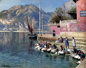 Order Famous Paintings Reproductions : Washer Women,Torbole by Peder Mork Monsted (1859-1941, Denmark) | WahooArt.com
