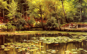 Order Oil Painting : Waterlilies by Peder Mork Monsted (1859-1941, Denmark) | WahooArt.com