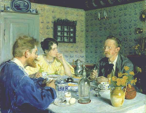 Almuerzo con Otto Benzon by Peder Severin Kroyer (1851-1909, Norway) | Famous Paintings Reproductions | WahooArt.com