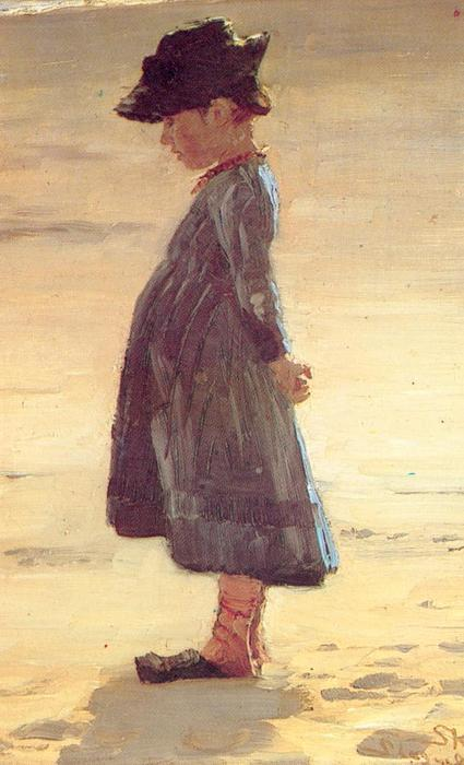 Niña en la playa, Oil by Peder Severin Kroyer (1851-1909, Norway)
