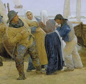 Order Oil Painting : Pescadores de Hornbaek by Peder Severin Kroyer (1851-1909, Norway) | WahooArt.com