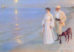 Peder Severin Kroyer - Tarde de verano en Skagen - (Famous paintings reproduction)