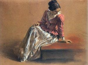 Adolph Menzel - Costume Study of a Seated Woman, Menzel´s Sister, Emilie