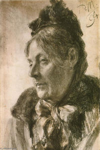 Adolph Menzel - The Head of a Woman