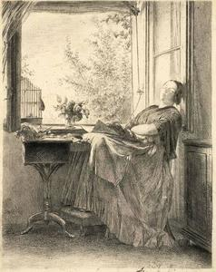 Adolph Menzel - The sleeping seamstress at the window