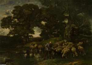 Charles Émile Jacque - A Shepherd and his Flock by a Pond