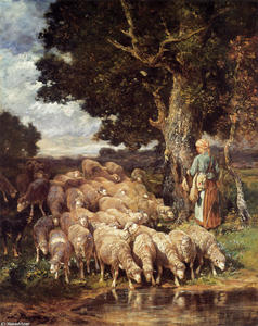 Charles Émile Jacque - A Shepherdess with her Flock near a Stream